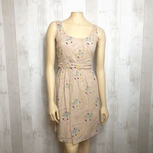 [ASOS] Purple Floral Print Swiss Dot Tan Dress